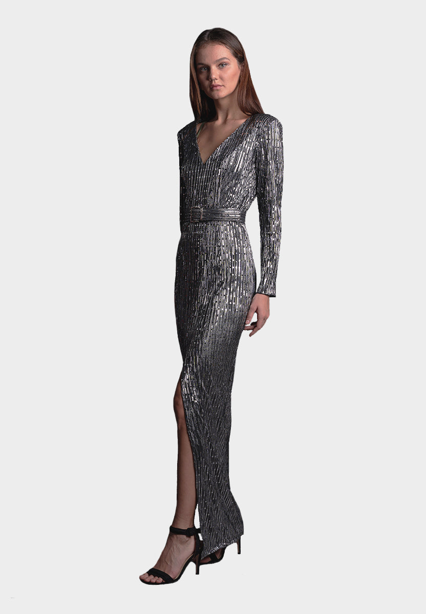 Julia Silver Gown AS SEEN ON OSCARS RED CARPET