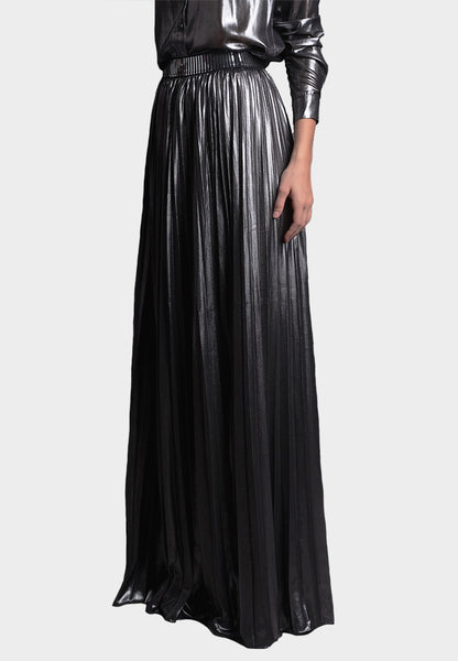 Lamé Chiffon Skirt in Silver