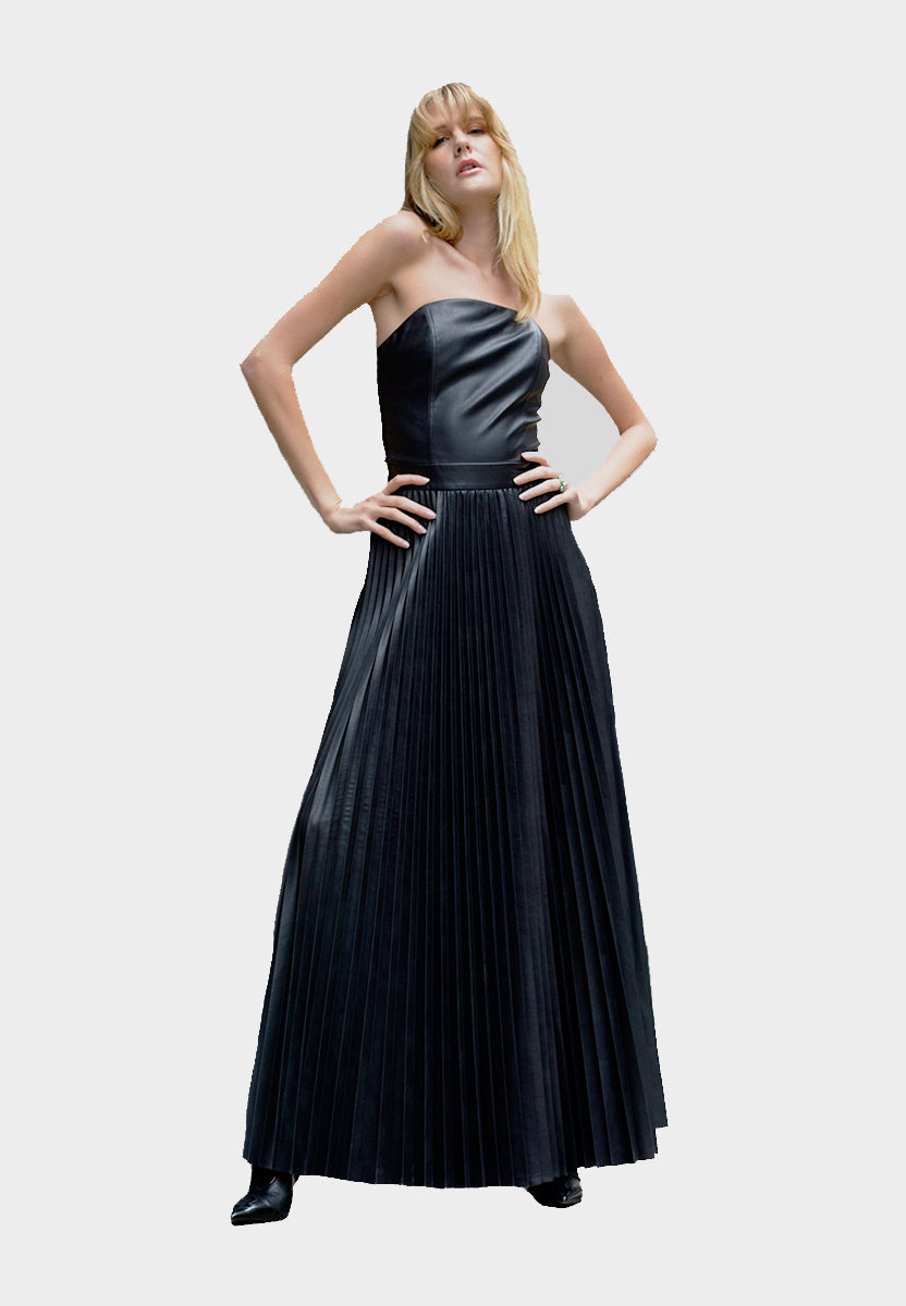 Pleated Vegan Leather Gown