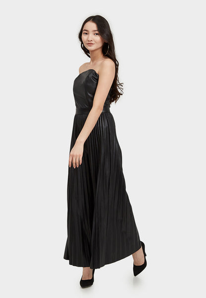 Pleated Black Vegan Leather Jumpsuit