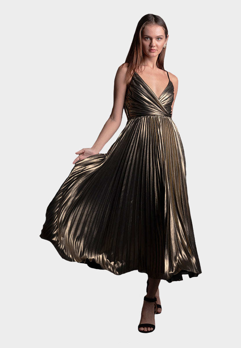 Lola Metallic Pleated Dress