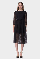 Embroidered Midi Organza Dress