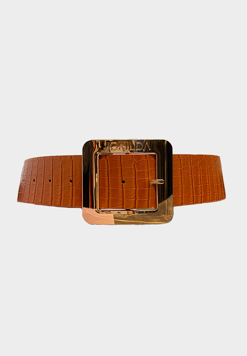 Limited Edition Jo Kilda Vegan Leather Statement Belt in Orange