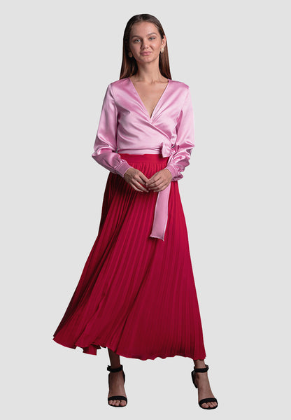 Sol Pleated Skirt Red