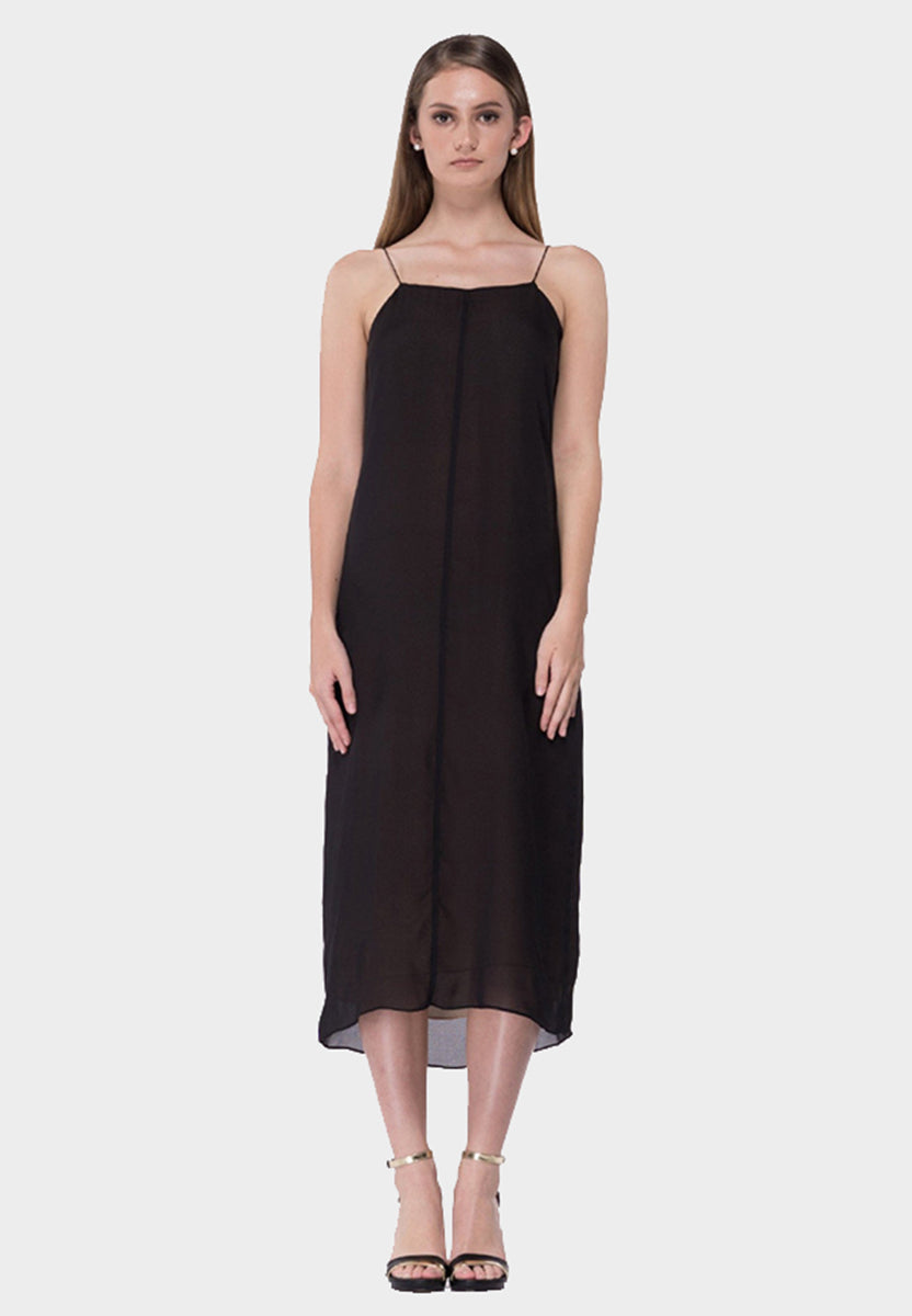 Sophie Black Silk Slip Dress