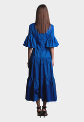 Tanita Viscose Cotton Dress in Blue