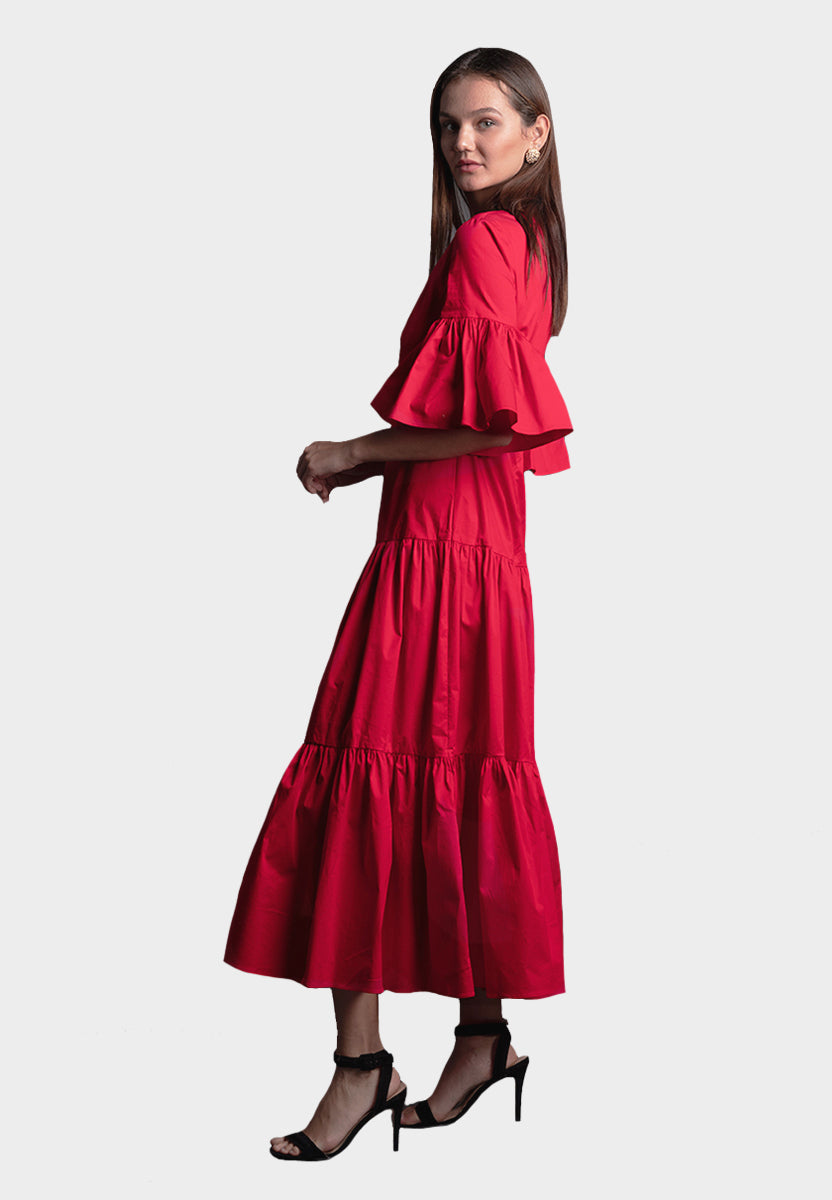Tanita Viscose Cotton Dress in Red