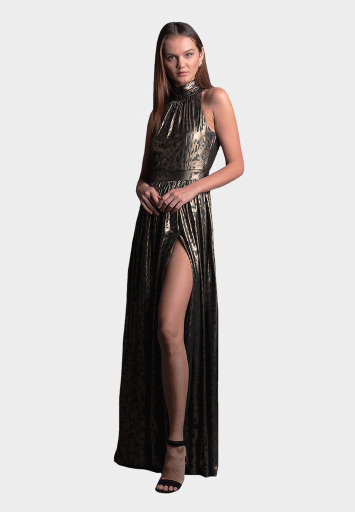 Vangeline Jaguar Dress in Gold