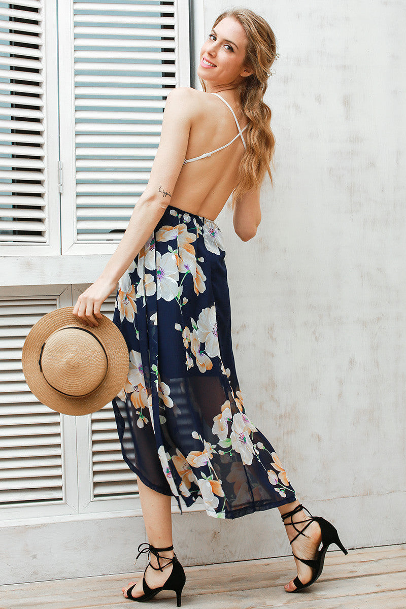 Strap Deep V Neck High Waist Dress