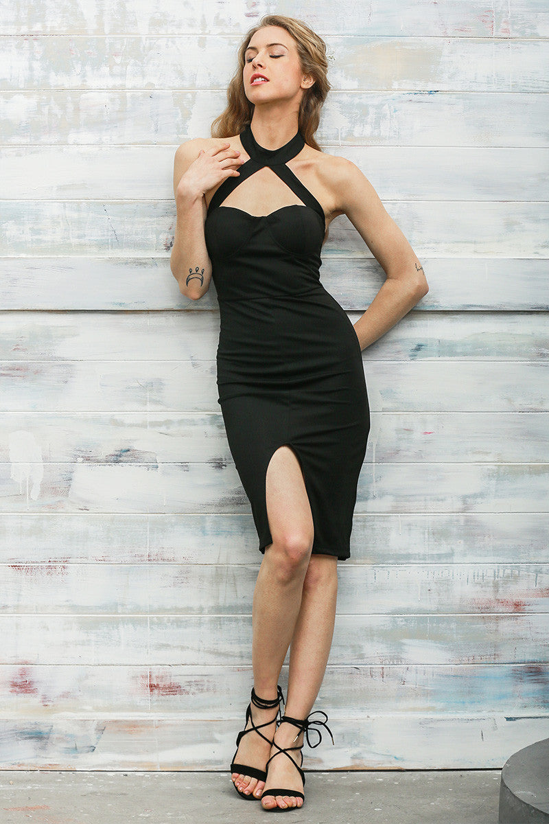 Halter Front Split Party Bodycon Dress