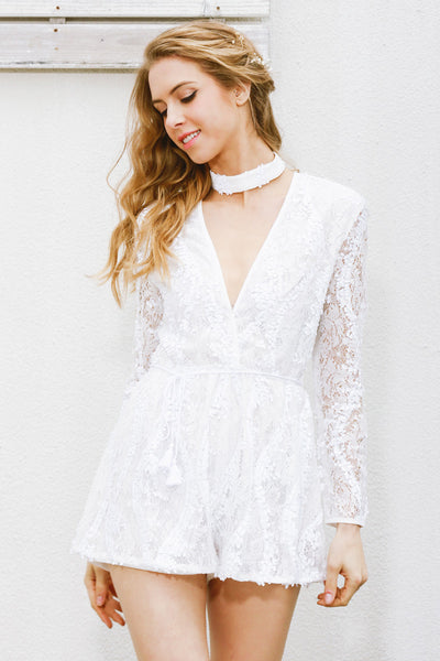 Halter White Lace Sequined Romper