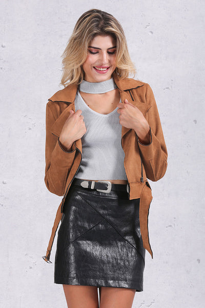 Zipper Basic Suede Jacket Coat