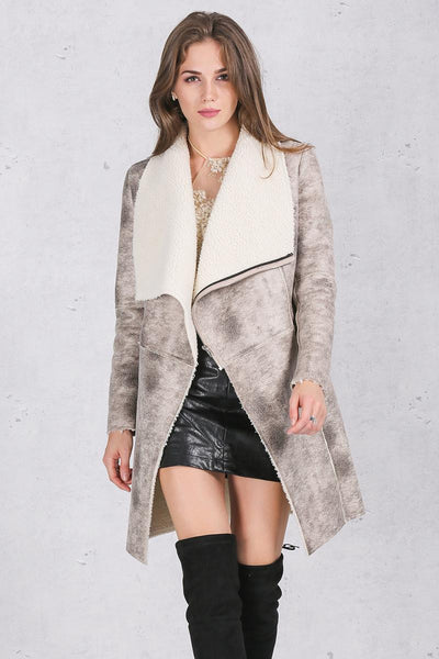 Turn Down Collar Wide Waisted Lambswool Autumn Winter Overcoat