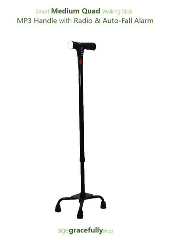 Smart Medium Walking Stick (MP3 Handle With Radio & Auto Fall Alarm)