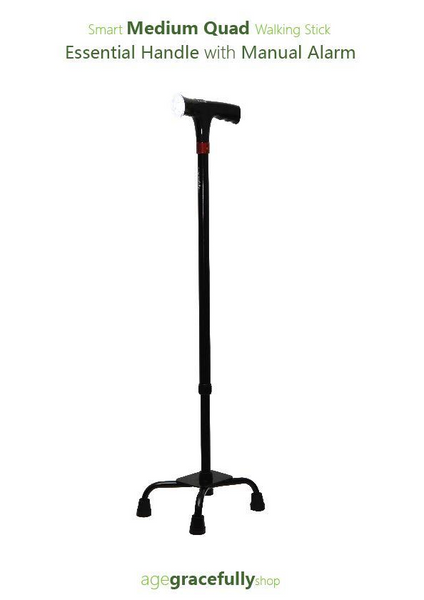 Smart Medium Quad Walking Stick (Essential Handle With Manual Alarm)