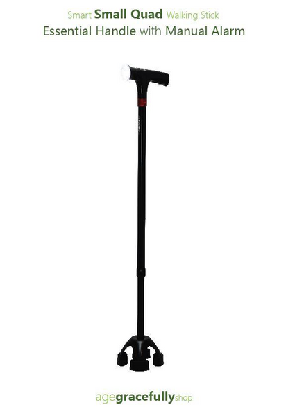 Smart Small Quad Walking Stick (Essential Handle With Manual Alarm)