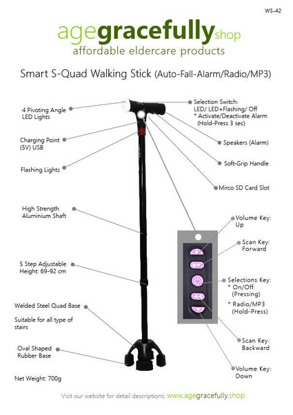 Smart Small Quad Walking Stick (MP3 With Radio & Auto Fall Alarm)