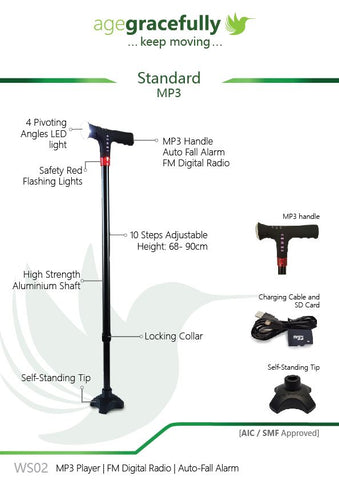 Smart Standard Walking Stick (MP3 Handle With Radio & Auto Fall Alarm)