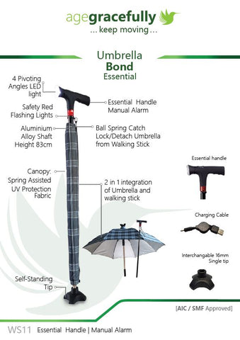 Umbrella Walking Stick with Essential Handle (Smart Cane with  Manual Alarm)