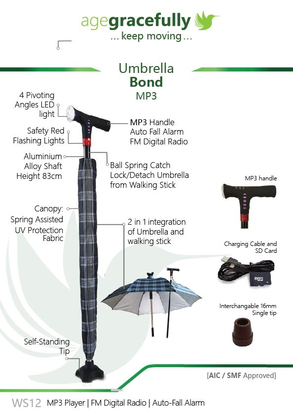 Smart Umbrella Walking Stick (MP3 Handle With Radio & Auto Fall Alarm)