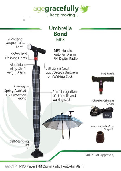 Umbrella Walking Stick with MP3 Handle (Smart Cane with  Auto Fall-Alarm)
