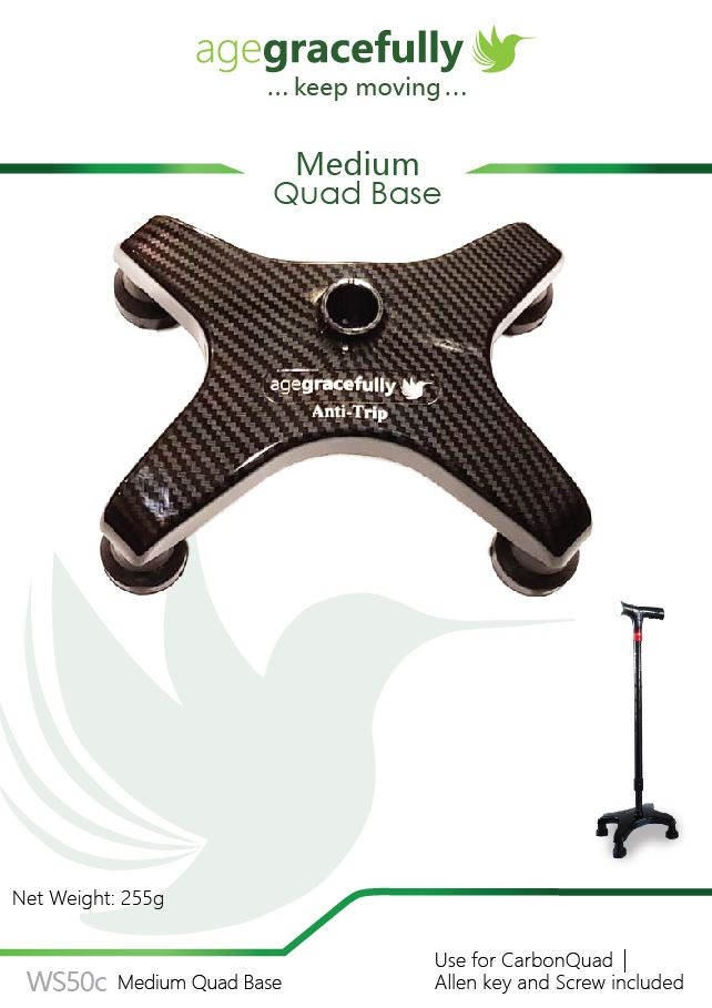 Walking Stick Medium Quad Base  - for CarbonQuad