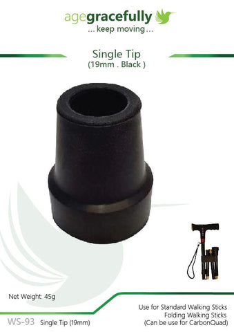 Walking Stick Tip - Single Tip 19mm