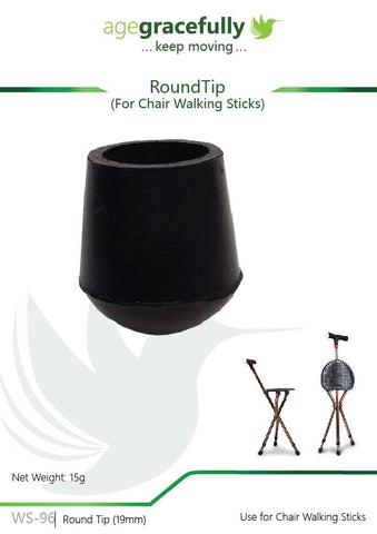Walking Stick Tip - Round Tip For Chair Walking Stick