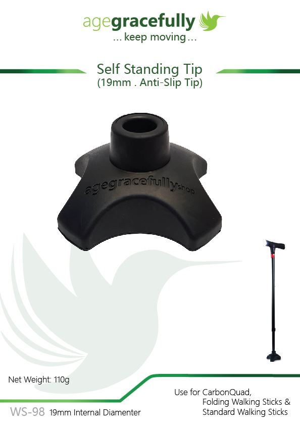 Walking Stick Tip - Lightweight Anti-Slip Self Standing Tip 19mm