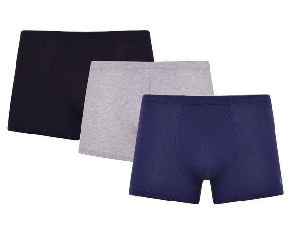 Lot de 3 Shortys JEAN PAUL en Coton Stretch BIO - NOIR/MARINE/GRIS CHINE