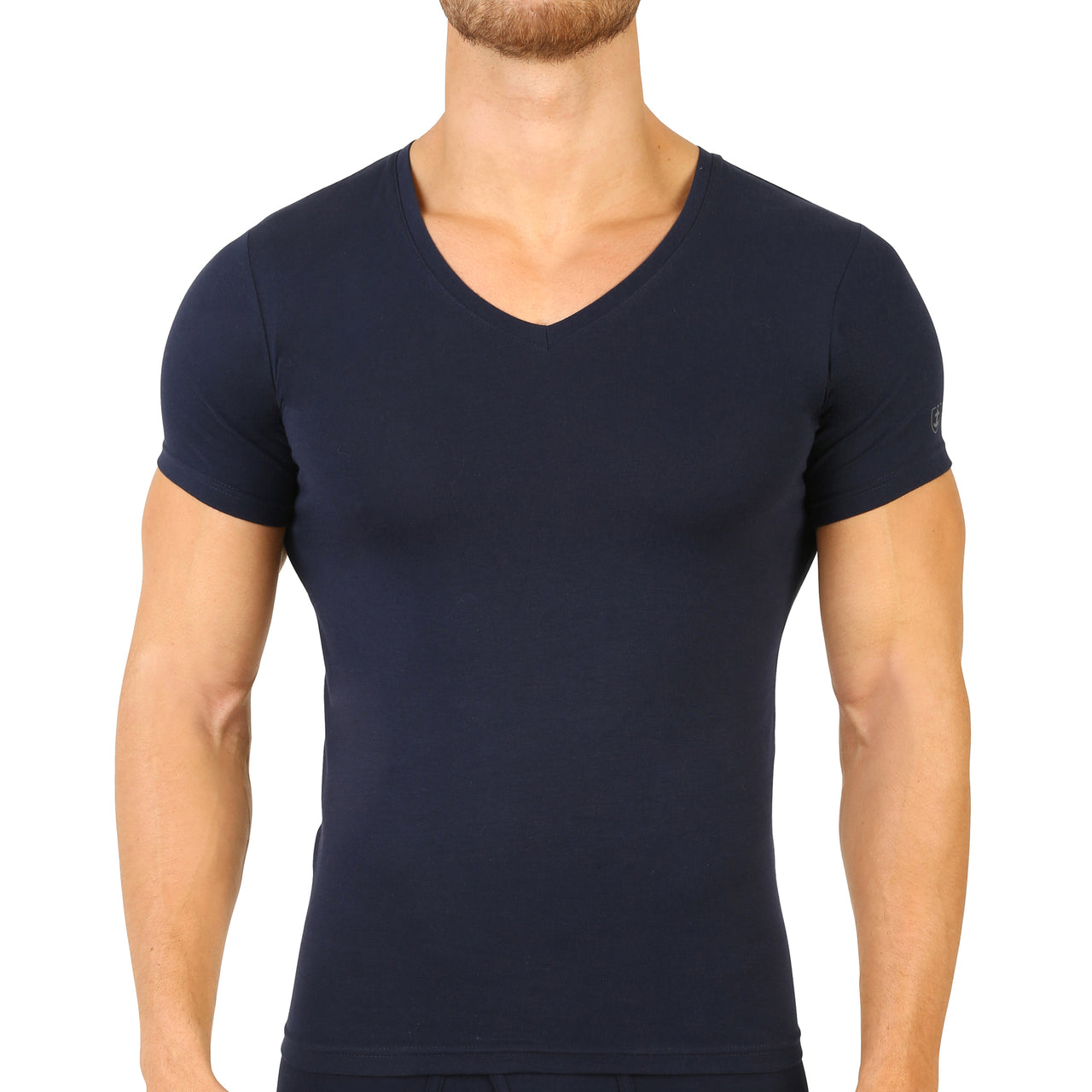 T-shirt col V Coton Stretch marine