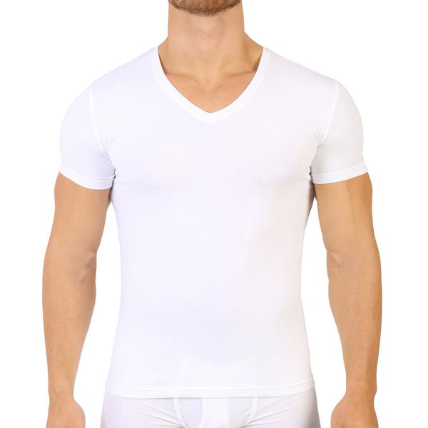 Wit Katoenen Stretch V-hals T-shirt