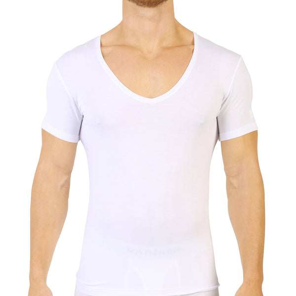 V-hals T-shirt Micromodal Stretch WIT
