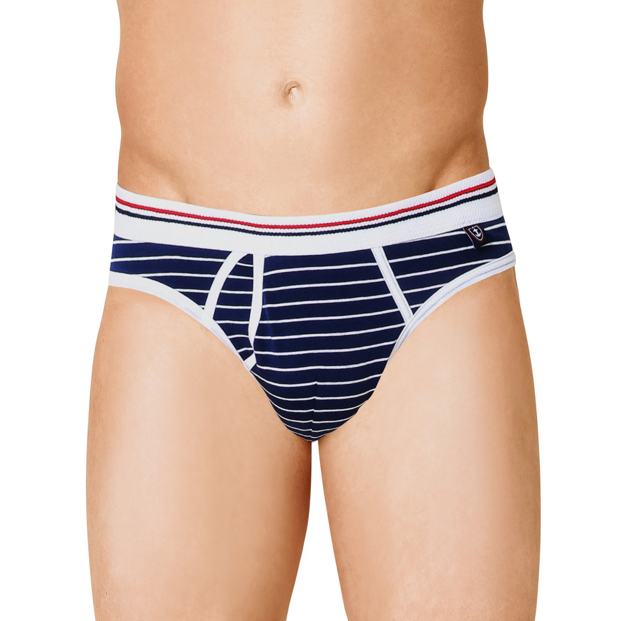 SLIP taille basse en Coton Stretch Rayé  MARINE
