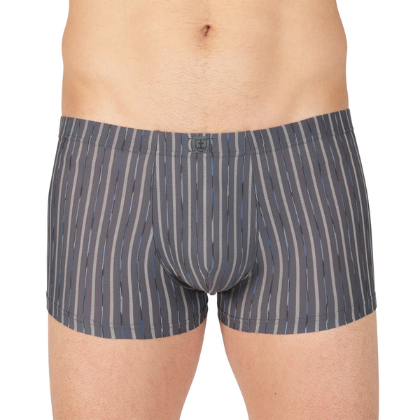 Shorty Rayé en Microfibre Stretch ANTHRACITE Ceinture enrobée