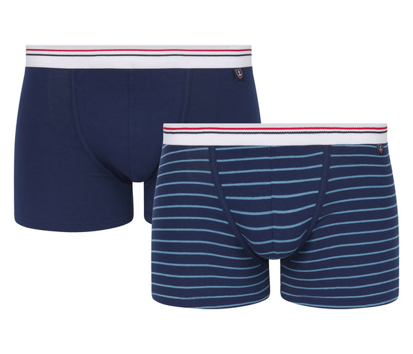Set van 2 Bedrukte Katoenen Stretch Shorts Navy Blue