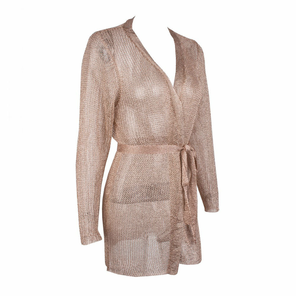 Vera Metallic Cardigan Knit Dress - Rose Gold