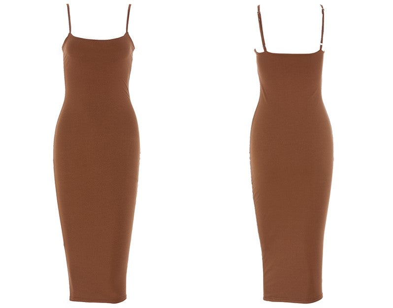 Lia Double Layered Midi Dress - Brown