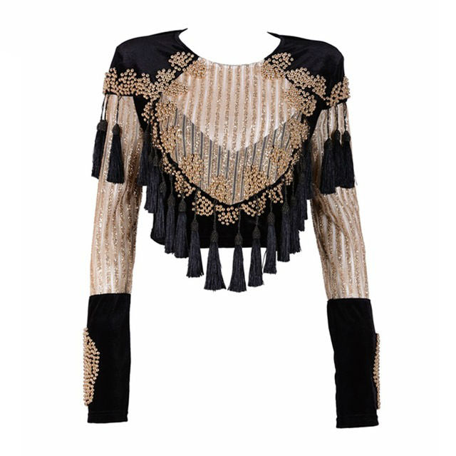 Ysabel Velvet Tassel Top
