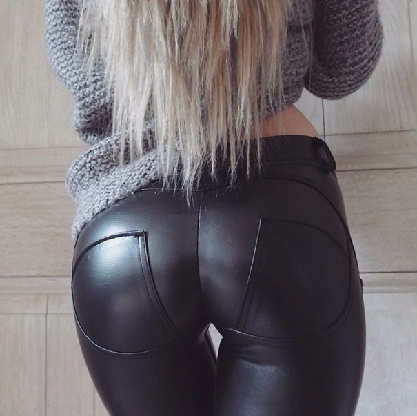 Butt Lifting Leather Leggings