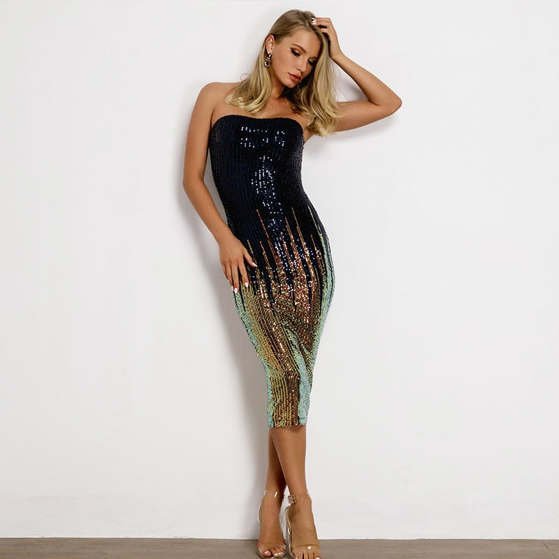 Lavish Sequin Midi Dress - Multi