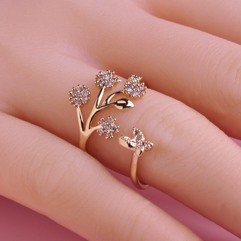 Butterfly And Floral Crystal Ring