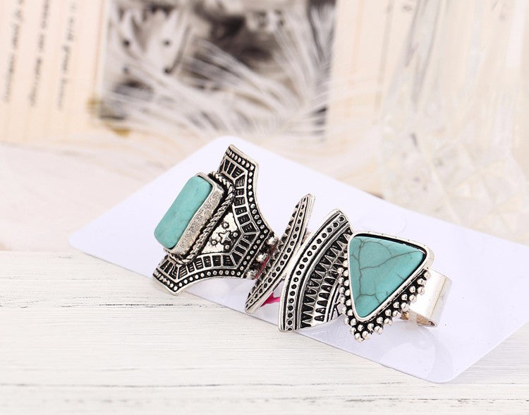 Boho Stone Midi Rings 3 Pcs Set