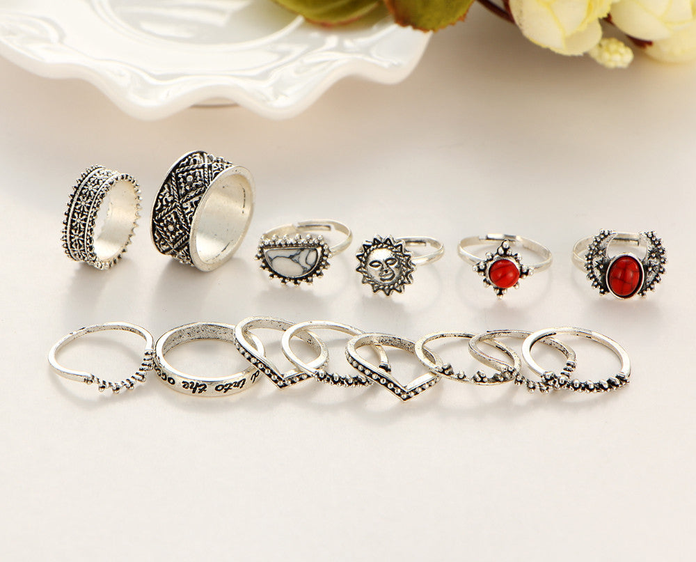 Moon and Sun Midi Rings (14 pcs)