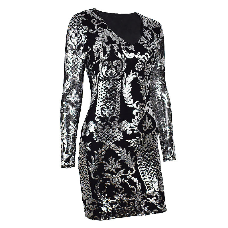 Giovanni Sequin Dress - Black/Silver