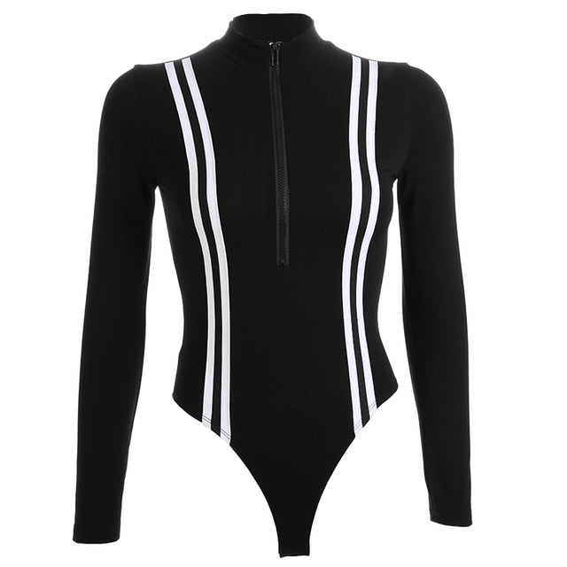 Rynn Stripped Bodysuit - Black