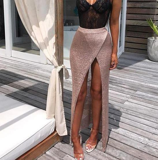 Vera Metallic Knit Skirt - Rose Gold