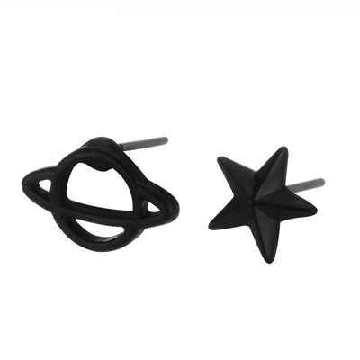 Black Tiny Star and Planet Earrings™