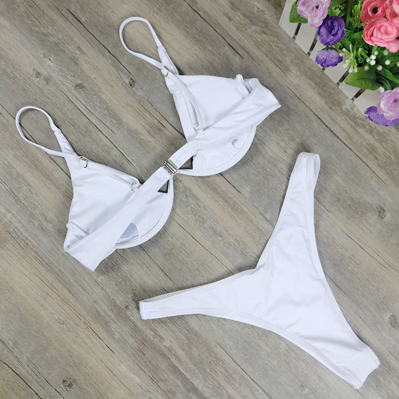 High Cut Two Piece Brazilian Bikini - White