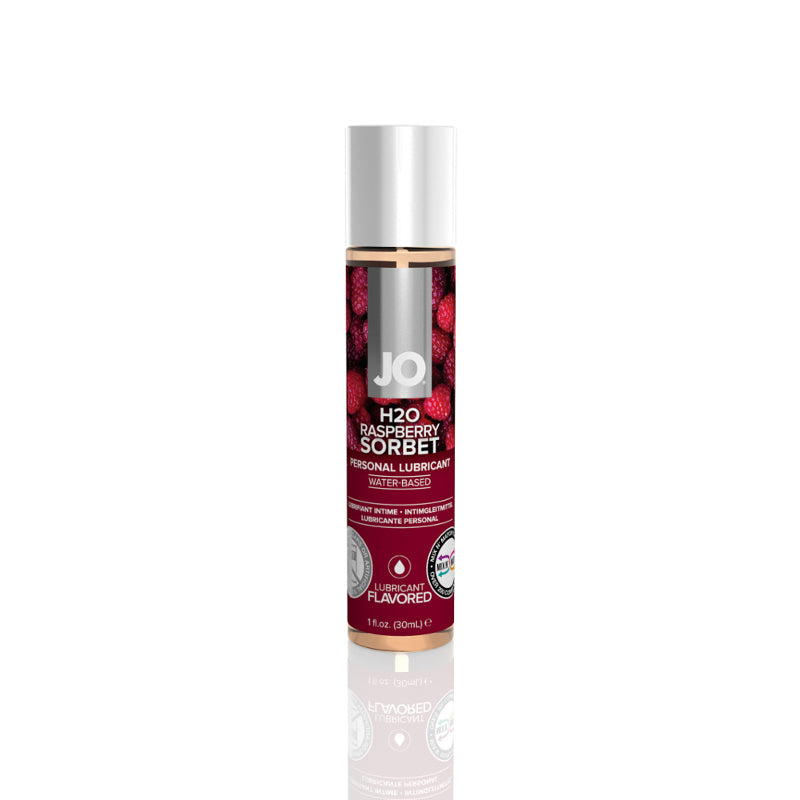 JO H2O Water Based Lubricant 1 Ounce and 4 Ounces  (Raspberry Sorbet)